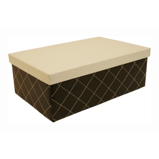 Black Quilted Box with White Lid (Set of 3)