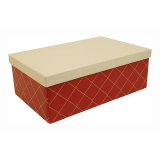 Red Quilted Box with White Lid (Set of 3)