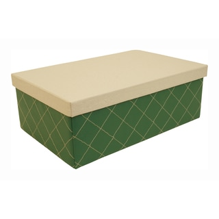 Green Quilted Box with White Lid (Set of 3)