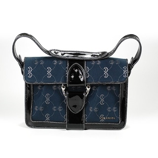 Charriol CC Logo Canvas Pochette Handbag in Navy Blue