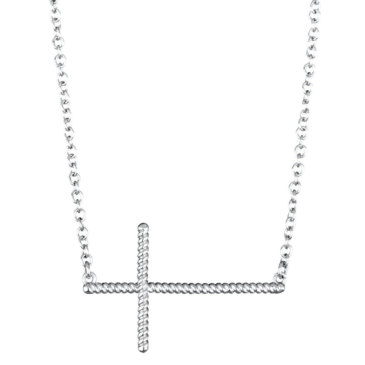 Silvertone Sterling Silver Beaded Sideways Cross Necklace...