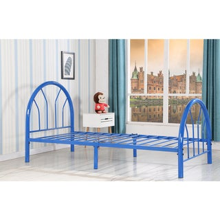 Belledica Twin Size Metal Bed Set, Headboard Footboard and Slats