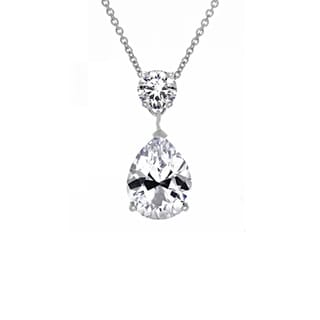 Sterling Silver Cubic Zirconia Pear Drop Necklace