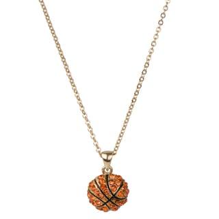Brass Basketball Pendant Necklace