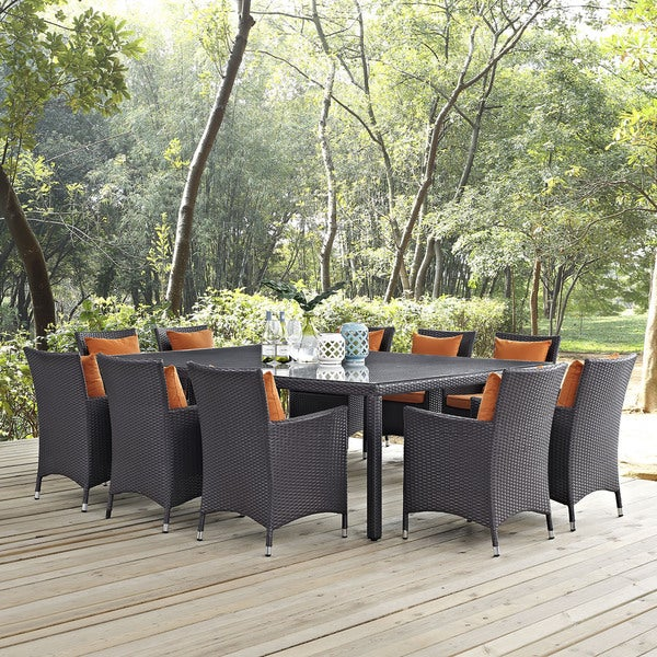Havenside Home Bocabec Synthetic Rattan Outdoor Patio Dining Set (11 Piece Set)