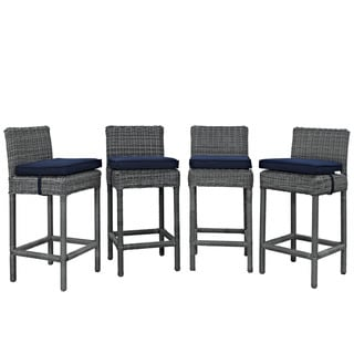 Invite Synthetic Rattan Outdoor Patio Bar Stool (Set of 4)