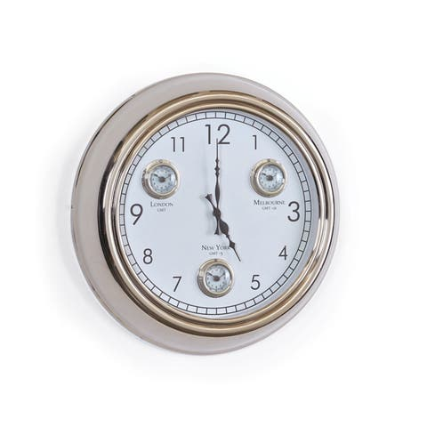 Polished Classic Round Face Wall Clock