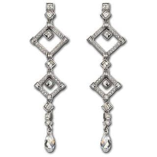 Rhodium-plated Austrian Crystal Marrakesh Pierced Earrings