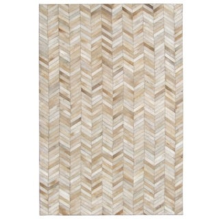 Tan Hand-stitched Chevron Cow Hide Leather Rug - 7'10 x 10'10