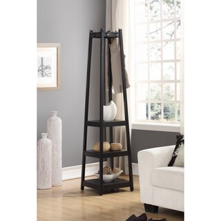 Vassen 3-Tier Storage Shelf Standing Coat Rack (Option: Black)