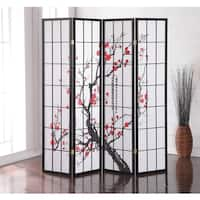 Plum Blossom Japanese 4-Panel Screen Room Divider
