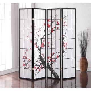 Japanese 4 Panel Screen Room Divider, Plum Blossom
