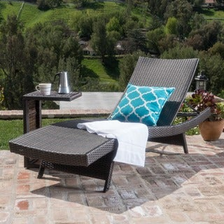 Chaminade Outdoor 2-piece Wicker Adjustable Chaise Lounge Set by Christopher Knight Home