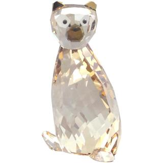 Crystal Bear Figurine with Turned Head and Brown Muzzle and Ears