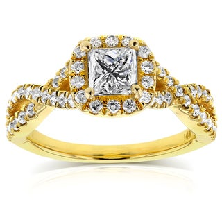 Annello by Kobelli 14k Yellow Gold 1ct TDW Princess Diamond Halo Crossover Engagement Ring