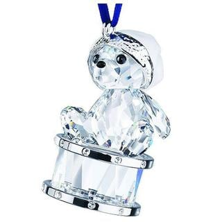 Crystal Bear with Christmas Hat Sitting on Drum