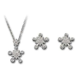 Mady Silver Rhodium-plated Austrian Crystal Pierced Earrings and Necklace Set
