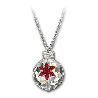 Ornament Shaped Pendant with Centered Red Snowflake Shaped Design