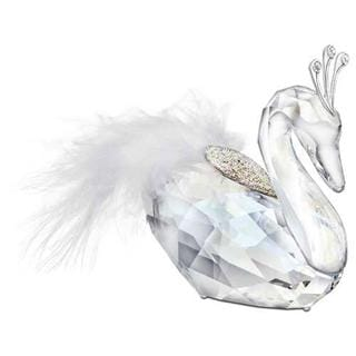 Winter Swan Figurine with Feather and Bejeweled Three Point Crown