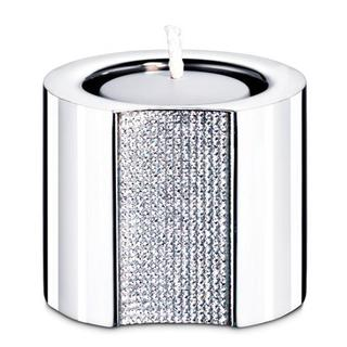 Stainless Steel Tea Light Candle with Small Clear Crystals