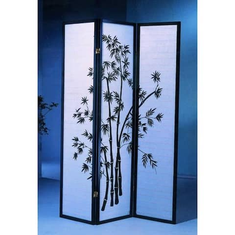 3-Panel Oriental Shoji Screen/Room Divider, Black