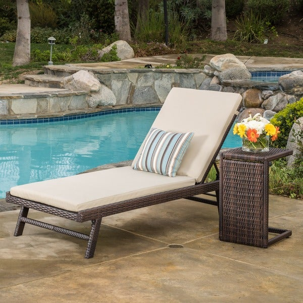 Waveland Outdoor 2 Piece Wicker Adjustable Chaise Lounge Set With Cushion  By Christopher Knight Home