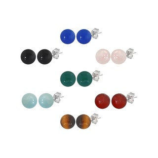Sterling Silver Round 8-8.5mm Gemstone Bead Stud Earrings