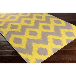 Hand Woven Cleveland Yellow Wool Area Rug - 5' x 8'