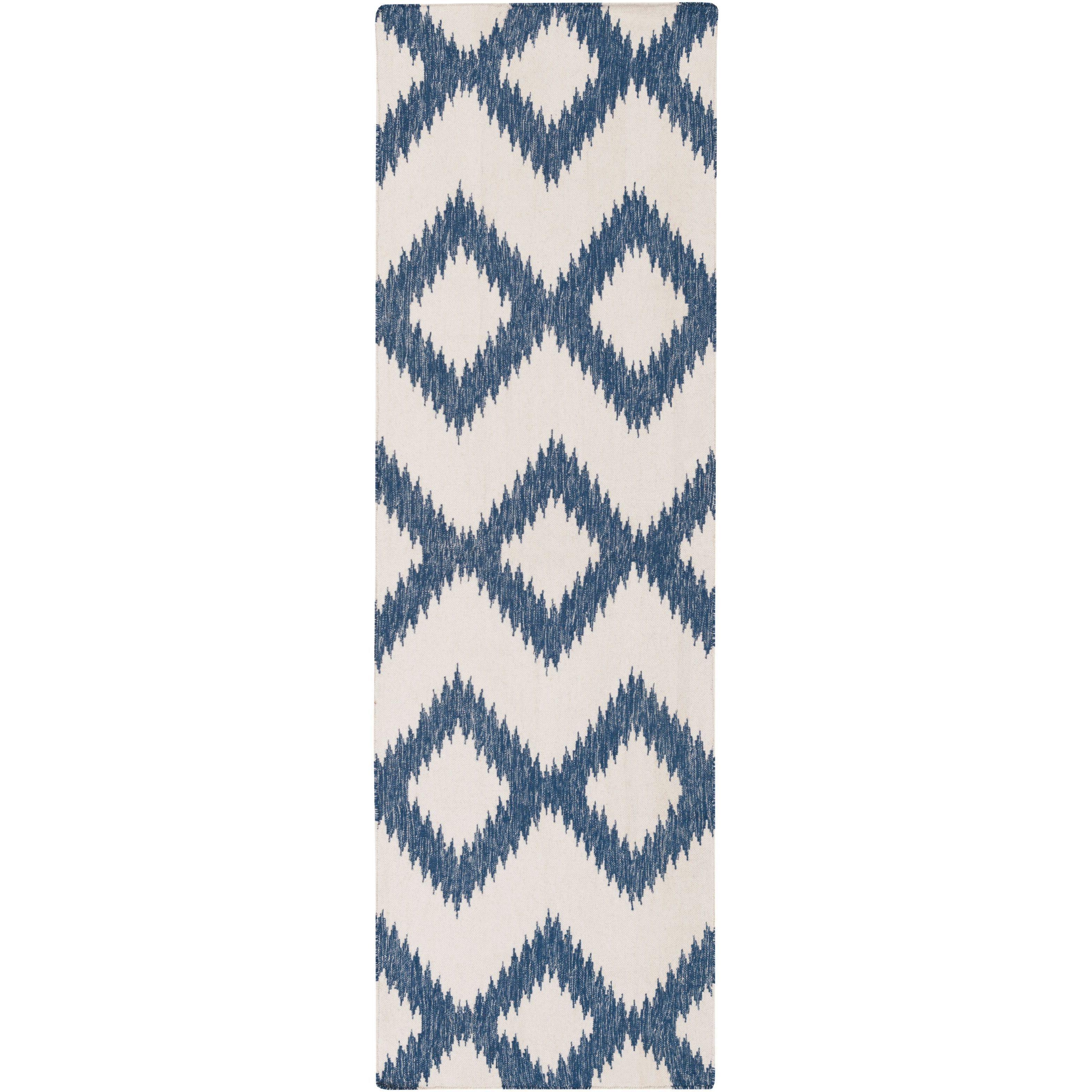 Hand Woven Cleveland Wool Rug (2'6 x 8') (Dark Blue), Siz...