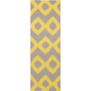 Hand Woven Cleveland Yellow Wool Rug (2'6 x 8')