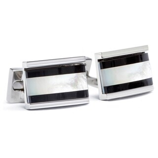 Silvertone Base Metal Center Stripe Mother of Pearl and Onyx Cufflinks