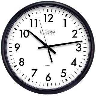 "Equity by La Crosse 404-2634-INT 13.5"" Black Quartz Wall Clock"