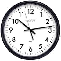 "Equity by La Crosse 404-2634-INT 13.5"" Black Quartz Wall Clock"