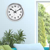 La Crosse Clock 404-2626 10 inch Silver Metal Analog Wall Clock with White Dial