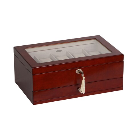 Mele & Co. Christo Glass Top Walnut Wood 10 Slot Watch Box