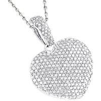 Luxurman 14k Gold 1 1/6ct TDW Pave Diamond Heart Pendant