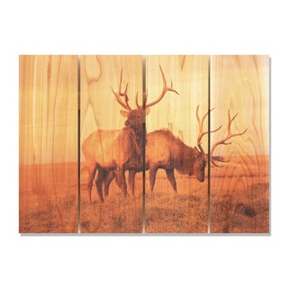 Bull Elk 22.5x16 Indoor/ Outdoor Full Color Cedar Wall Art