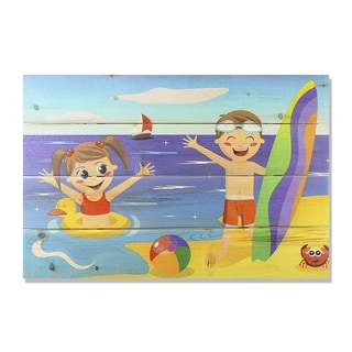 Kids on Beach 20x14 Wile E. Wood Indoor/ Outdoor Full Color Cedar Wall Art
