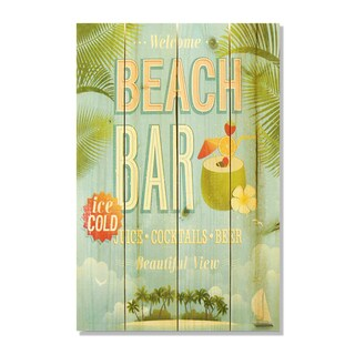 Beach Bar 14x20 Wile E. Wood Indoor/ Outdoor Full Color Cedar Wall Art