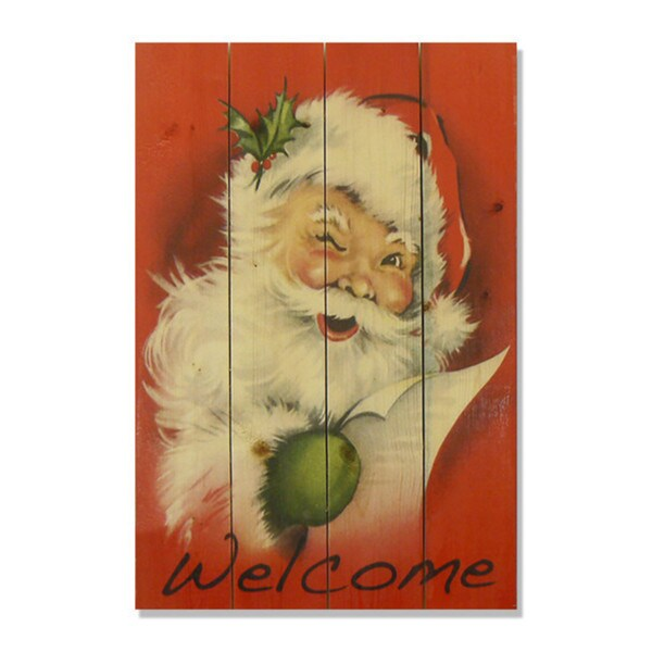 Welcome Santa 14x20 Wile E Wood Indoor Outdoor Full Color Cedar Wall Art