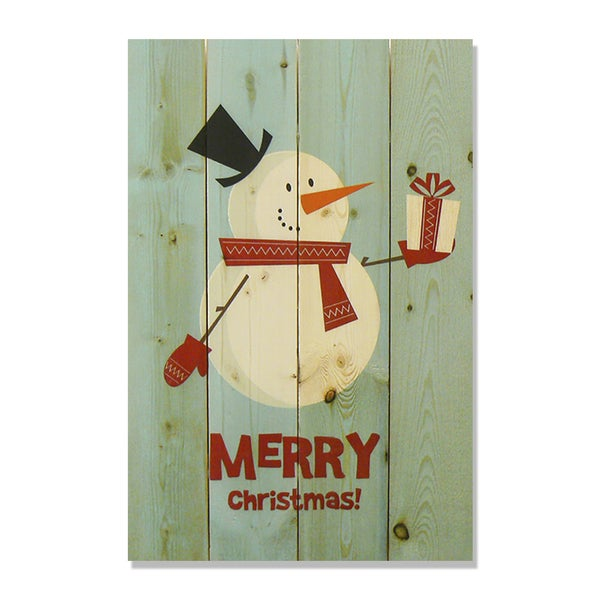 Merry Christmas Snowman 14x20 Wile E. Wood Indoor/ Outdoor Full Color Cedar Wall Art