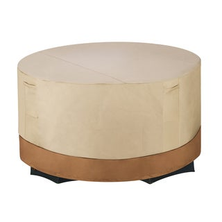 Villacera High Quality Patio Table and Chair Cover Round Beige and Brown Small