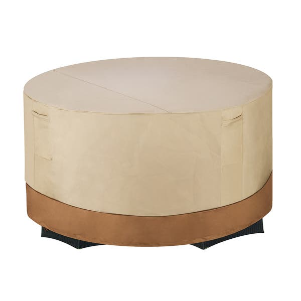 Shop Villacera High Quality Patio Table And Chair Cover Round Beige And Brown Small Overstock 11667799