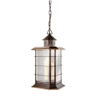 Kichler Lighting Transitional 1-light Distressed Solid Brass Outdoor Hanging Lantern