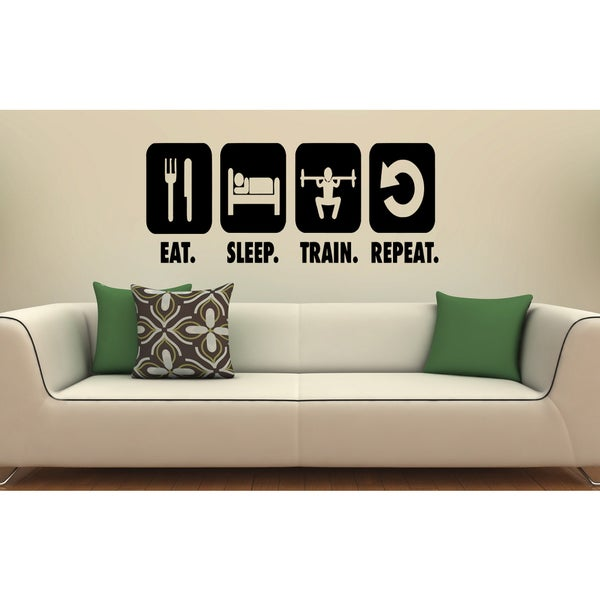 Eat Sleep Train Repeat Kids Wall Art Sticker Decal