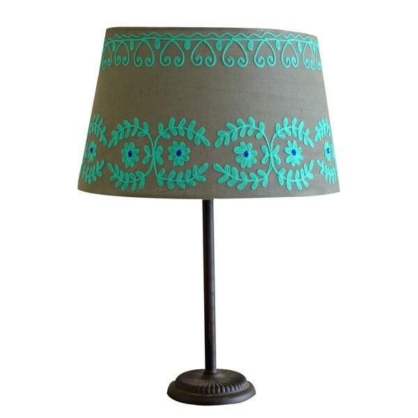 Handmade Large Green/ Blue Rabari Cotton Lamp Shade (India)