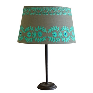 Large Green/ Blue Rabari Cotton Lamp Shade (India)