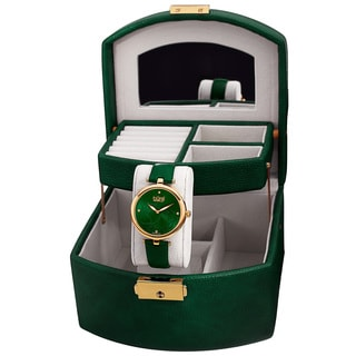 Burgi Women's Emerald Green Floral Leather Strap Watch and Jewelry Box Set