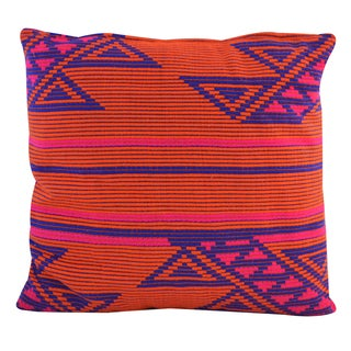Square Jacquard 18-inch Cotton Throw Pillow (India)