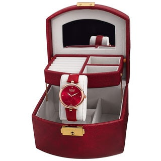Burgi Women's Red Floral Leather Strap Watch and Jewelry Box Set